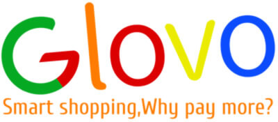 colorful glovo logo with slogan | smart shopping why pay more