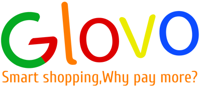 "Colorful Glovo logo with slogan ""smart shopping,why pay more?"""